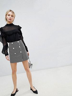 ASOS DESIGN double breasted mini skirt in stripe