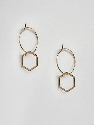Orelia örhängen Gold Plated Hexagon Charm Hoop Earrings