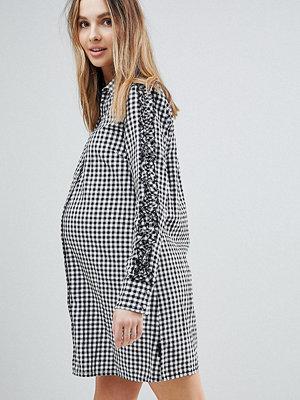 Supermom Maternity Gingham Shirt Dress - C270 black