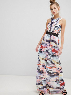Little Mistress Abstract Print Maxi Dress