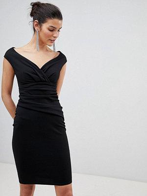 City Goddess Bardot Pleated Midi Dress