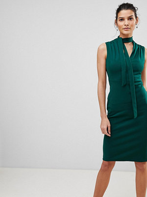 City Goddess Tie Collar V Neck Midi Dress - Emerald