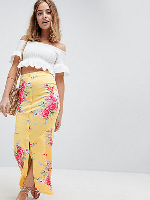 ASOS Petite ASOS DESIGN Petite Maxi Skirt With Button Front In Tea Floral Print