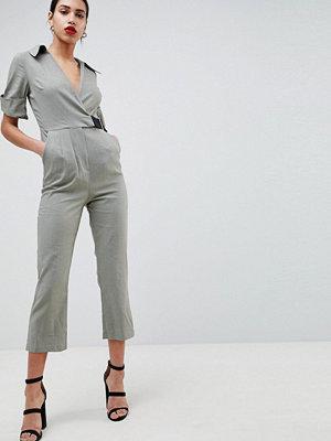 ASOS DESIGN Wrap Jumpsuit With Grosgrain Belt In Linen