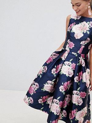 Chi Chi London Satin Midi Prom Dress In Floral Print