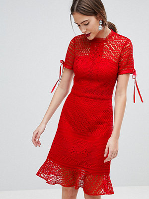 Chi Chi London Tall All Over Lace Midi Dress with High Neck and Short Sleeve