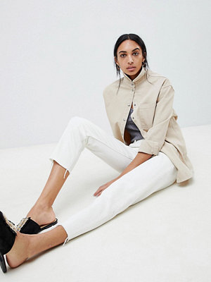 ASOS DESIGN Florence authentic straight leg jeans in white with contrast stitch