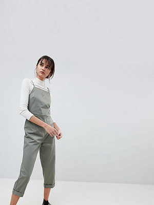 Reclaimed Vintage Inspired Utility Jumpsuit With Square Neck And Open Back - Khaki