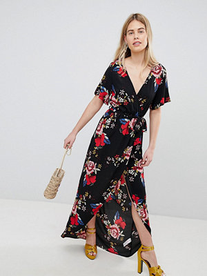 New Look Printed Wrap Short Sleeve Midi Dress