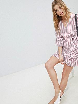 Miss Selfridge Stripe Linen Wrap Dress