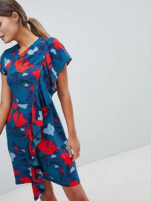 Closet London Closet Printed Dress With Frill Detail