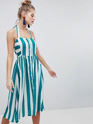 Boohoo Halterneck Striped Midi Dress
