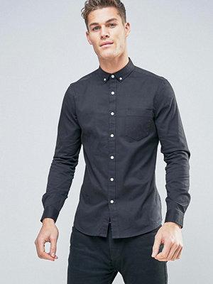 ASOS Slim Twill Shirt With Stretch In Black