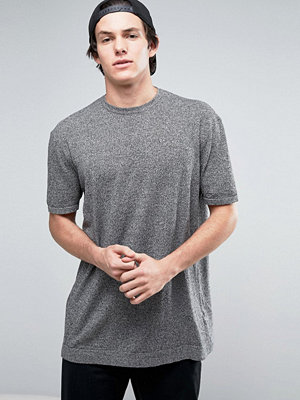 ASOS Knitted Relaxed Fit T-Shirt In Grey Twist - Black white twist