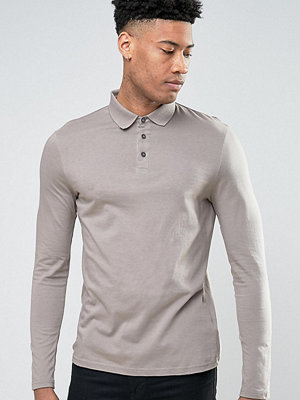 ASOS TALL Long Sleeve Jersey Polo - Clam