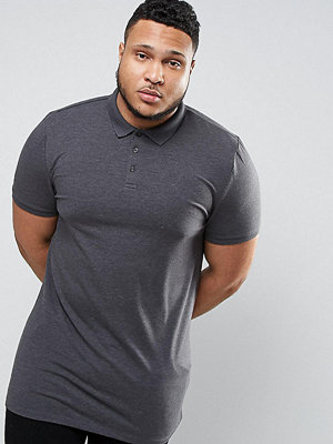 ASOS PLUS Longline Muscle Polo Shirt In Charcoal Marl - Charcoal marl