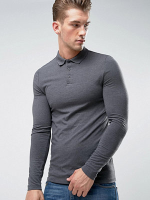 ASOS Extreme Muscle Long Sleeve Polo In Charcoal Marl - Charcoal marl