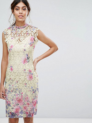 Paper Dolls Midi Dress in Multi Crochet Lace - Multi