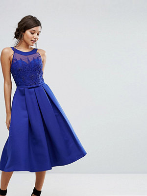 Little Mistress Structured Midi Dress with Beaded Crochet Top