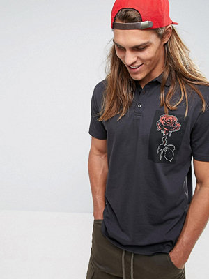 ASOS Longline Polo With Rose Chest Print - Washed black