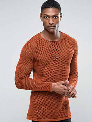 ASOS TALL Longline Knitted Textured Mesh Jumper in Rust - Rust