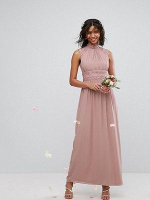 TFNC WEDDING High Neck Lace Detail Maxi Dress - Pale mauve