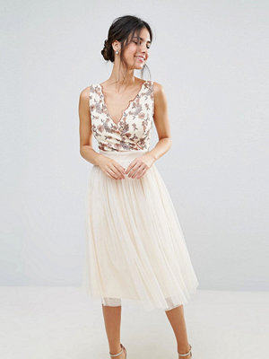 Little Mistress Tulle Midi Dress With Embroidered Bodice