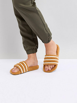 Adidas Originals Adilette Furry Slider Sandals In Tan