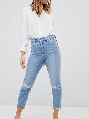 ASOS Petite ASOS DESIGN Petite Farleigh High Waist Slim Mom Jeans In Zaliki Light Vintage Wash WITH BUSTED KNEE