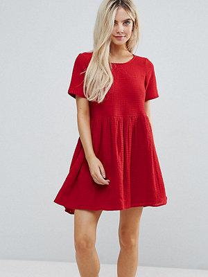 ASOS Petite Casual Mini Smock Dress in Grid Texture