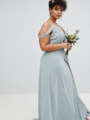 TFNC Plus Cold Shoulder Wrap Maxi Bridesmaid Dress With Fishtail - Green lily