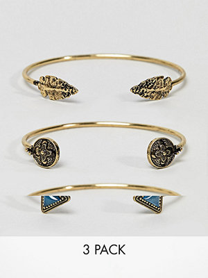 ASOS armband DESIGN pack of 3 triangle stone and arrowhead cuff bracelets