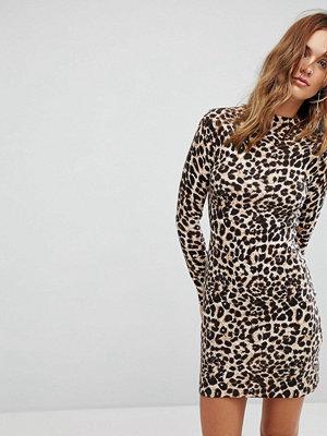 Warehouse Leopard Print Jumper Dress - Brown