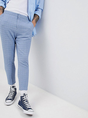 ASOS DESIGN Tapered Smart Trousers In Blue Texture With Elasticated Back