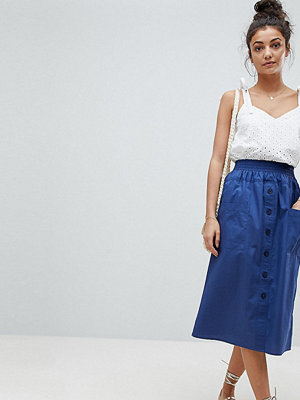 Asos Tall ASOS DESIGN Tall cotton midi skirt with button front