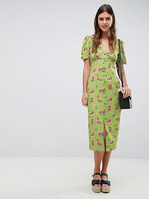 ASOS DESIGN Button Through Floral Midi Dress
