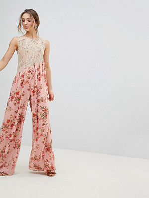 ASOS Jumpsuit in Soft Floral with Lace Bodice Detail
