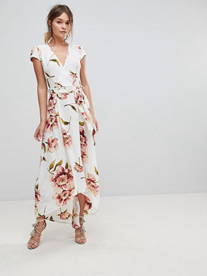 Ax Paris Floral Wrap Dress - Cream
