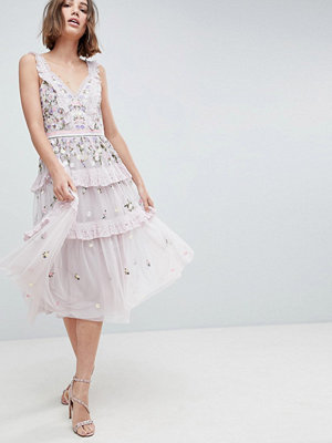 Needle & Thread Layered Midi Dress With Embroidery - Lilac