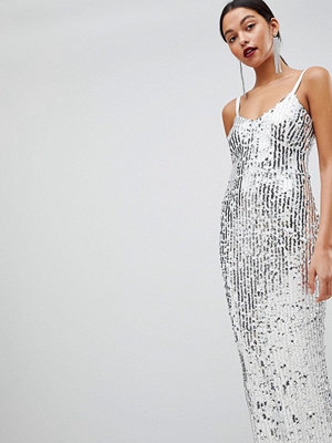 Club L Mermaid Silver Sequins Strappy Fishtail Detailed Maxi Dress - White silver