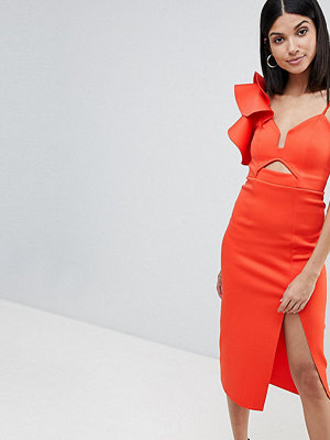 Asos Tall ASOS DESIGN Tall frill one shoulder scuba bodycon dress with midriff