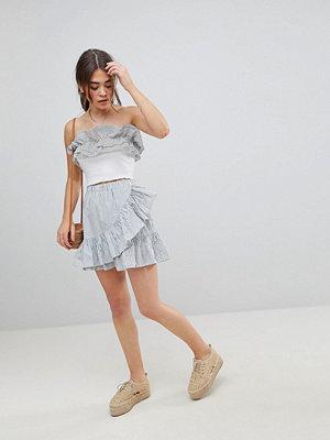 ASOS DESIGN cotton mini skater skirt with wrap hem in stripe
