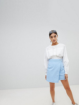 PrettyLittleThing Wrap Denim Skirt