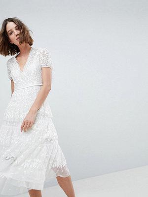 Needle & Thread Layered Midi Dress With Tie Waist - Ivory