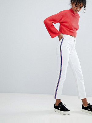 Monki Moluna Side Stripe White Jeans - White with stripe