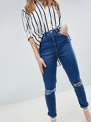 ASOS Petite ASOS DESIGN Petite Farleigh High Waist Slim Mom Jeans In Bonnie Wash With Super Wide Busted Knee