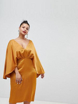 ASOS Curve ASOS DESIGN Curve satin cape kimono sleeve deep plunge midi dress