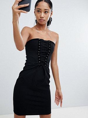Lasula lace up corset off shoulder mini dress