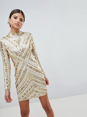 Girl In Mind Sequin Long Sleeve Mini Dress - Gold
