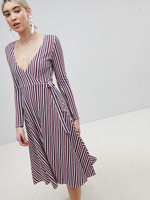 Boohoo Stripe Wrap Midi Dress